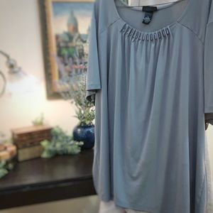 Slinky gray blouse w/embellished scoop collar